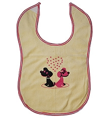 Buzzy Cotton Baby Bib Heart Print - Yellow