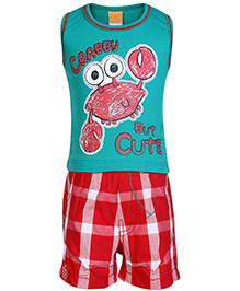 Little Kangaroos Sleeveless T Shirt and Shorts with Crab Print - Green and Red
