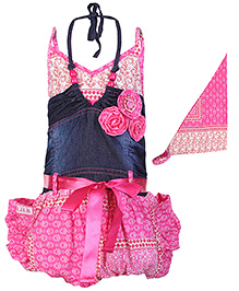 Little Kangaroos Singlet Frock With Scarf - Pink