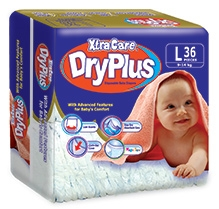 Xtra Care Dry Plus Disposable Baby Diapers Large - 36 Pieces