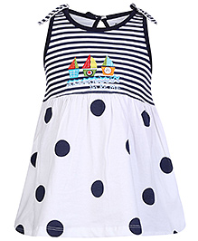Doreme Sleeveless Frock with Polka and Stripe Print - White and Blue