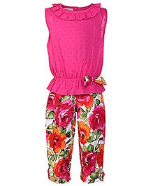 Mini Cupcake Sleeveless Top And Legging Set - Fuchsia