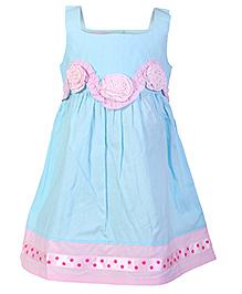 Mini Cupcake Sleeveless Frock Flower Design - Blue