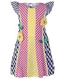 Chocopie Cap Sleeves Frock Checks Print - Multi Colour