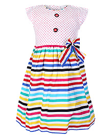 Doreme Short Sleeves Pink Dotted Frock - Multi Colour Stripes Print
