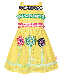 Chocopie Singlet Frock Lemon Yellow - Chikan Pattern And Flower Motif