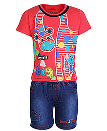 Babyhug Half Sleeves T-shirt and Denim Shorts Red and Navy Blue - Monkey Print