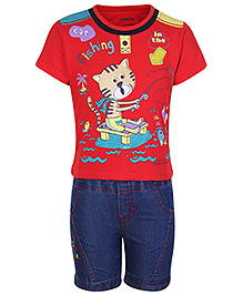 BabyHug Half Sleeves T-Shirt and Denim Shorts - Fishing Cat Print
