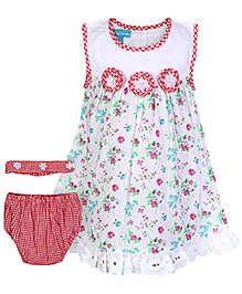 Mini Cupcake Sleeveless Frock With Bloomer And Hairband Red - 3 Piece