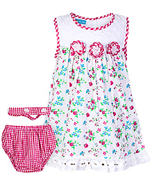Mini Cupcake Sleeveless Frock With Bloomer And Hairband Pink - 3 Piece