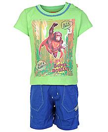 Little Kangaroos Short Sleeves T Shirt And Shorts - Green