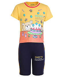 Babyhug Hosiery T-Shirt and Shorts Set - Sweets and Teddy Print