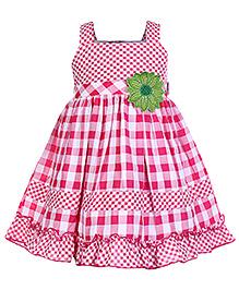 Babyhug Singlet Frock Pink - Checks Print