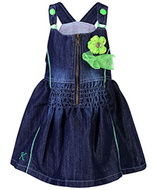 Little Kangaroos Sleeveless Frock - Dark Blue And Green