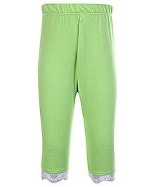 SAPS Quarter Length Legging with Lace at Bottom - Green