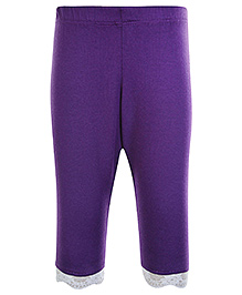 SAPS Quarter Length Legging with Lace at Bottom - Purple
