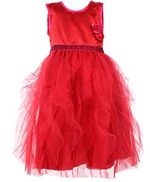 Mini Cupcake Sleeveless Party Wear Frock Red - Rose Flower Motif
