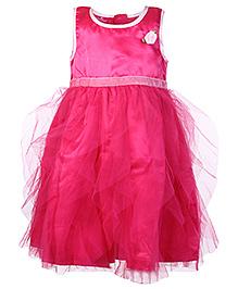 Mini Cupcake Sleeveless Frock Pink - Rose Flower Motif