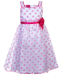 Mini Cupcake Singlet Party Wear Frock - Pink and White