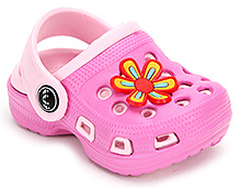 Cute Walk Clogs with Flower Motif - Pink