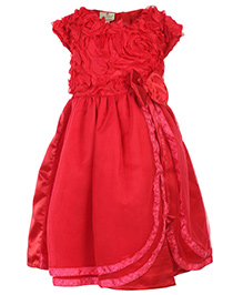 Mini Cupcake Short Sleeves Party Wear Frock With Bow On Waist - Red
