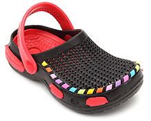 Cute Walk Clog with Multicolor Cover Strip - Black and Red