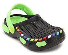 Cute Walk Clog with Multicolor Cover Strip - Black and Green