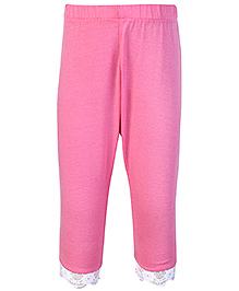 SAPS Quarter Length Legging with Lace at Bottom - Pink