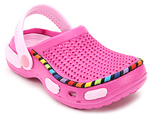 Cute Walk Clog with Multicolor Cover Strip - Pink