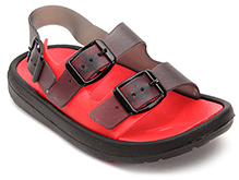 Cute Walk Sandal Style Clog with Buckle Strap - Black and Red