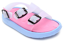 Cute Walk Sandal Style Clog with Buckle Strap - Blue and Pink