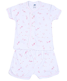 Zero Half Sleeves T-Shirt with Diaper Legging Set - White and Pink