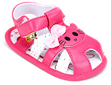 Cute Walk Sandal Style Booties With Kitty And Bow Applique - Pink