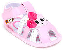 Cute Walk Sandal Style Booties With Kitty And Bow Applique - Light Pink