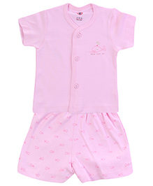 Zero Half Sleeves T-Shirt and Diaper Legging with Fish Print - Pink