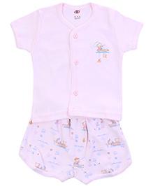 Zero Half Sleeves T-Shirt with Diaper Legging Set - Light Pink