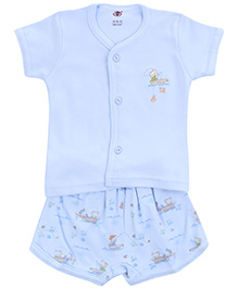 Zero Half Sleeves T-Shirt with Diaper Legging Set - Light Blue