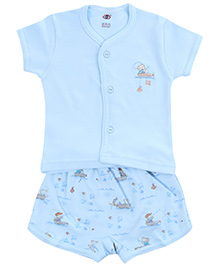 Zero Half Sleeves T-Shirt with Diaper Legging Set - Sky Blue