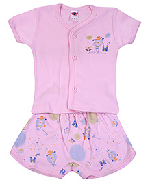 Zero Half Sleeves T-Shirt with Diaper Legging Set - Pink