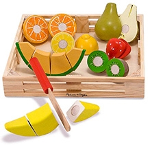Melissa and Doug Multicolor Wooden Cutting Fruit Crate