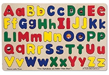 Melissa and Doug Wooden Upper and Lowercase Alphabet Puzzle
