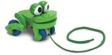 Melissa and Doug Wooden Frolicking Frog Pull Toy - Green