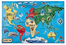 Melissa & Doug Wooden World Map Floor - 33 Pieces
