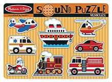 Melissa & Doug Wooden Vehicles Sound Puzzle - 8 Pieces