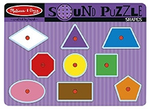 Melissa & Doug Wooden Shapes Sound Puzzle - 9 Pieces