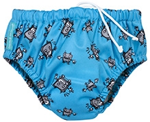 Charlie Banana 2-in-1 Swim Diaper N Training Pants Blue Medium - Robot Print