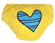 Charlie Banana Swim Diaper And Training Pant Blue Petit Coeur Yellow - Large