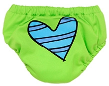 Charlie Banana Swim Diaper And Training Pant Blue Petit Coeur Green - Medium