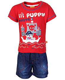 Little Kangaroos Short Sleeves T-Shirt And Shorts - Red