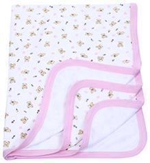 Pink Rabbit Baby Blanket With Teddy Print - Pink - 100 X 68 Cm